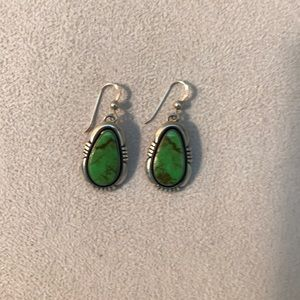 Green Stone And Sterling Silver Earrings